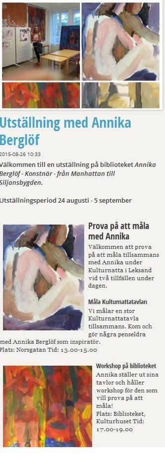 Utställning med Annika Berglöf