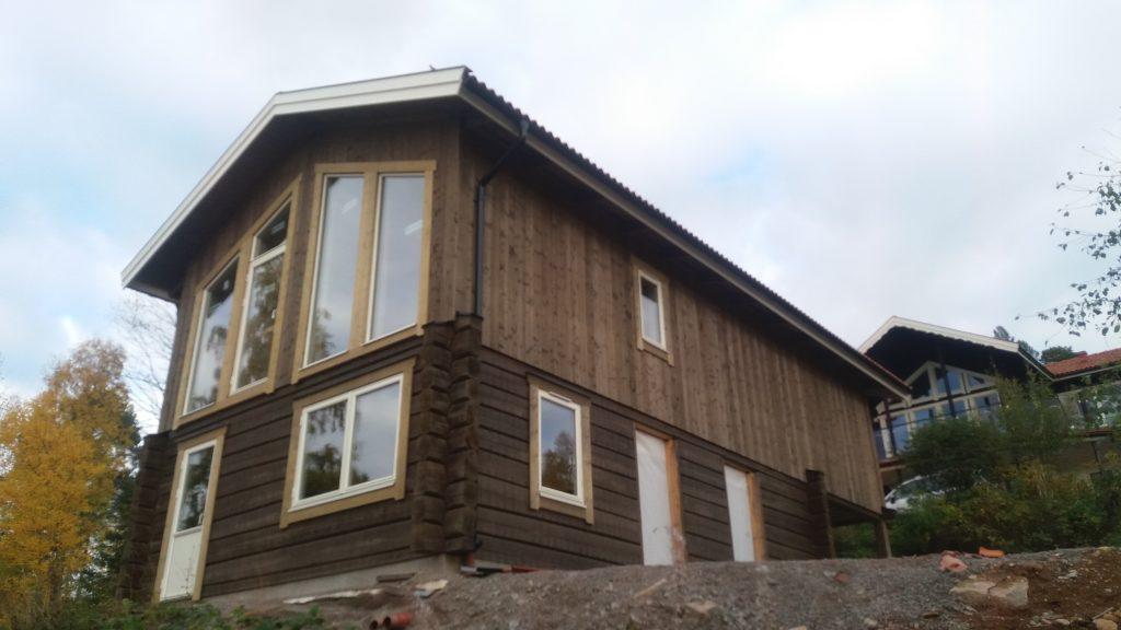 Avslutande skede av byggnationen av Atelje' och bostad, oktober 2017