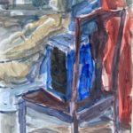 kvinna med stol