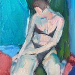 kvinna i svart bikini – röd blå grön bakgrund