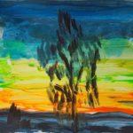 Vy över Siljan i solnedgången – träd