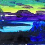 Vy över Siljan i solnedgången – lila