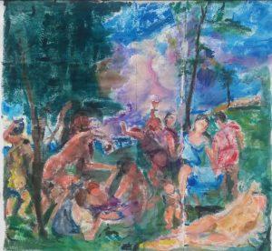 Målad textil med inspiration av Tizian, konstnär Annika Berglöf