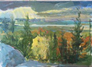 Målning höstvy landskap - Annika Berglöf