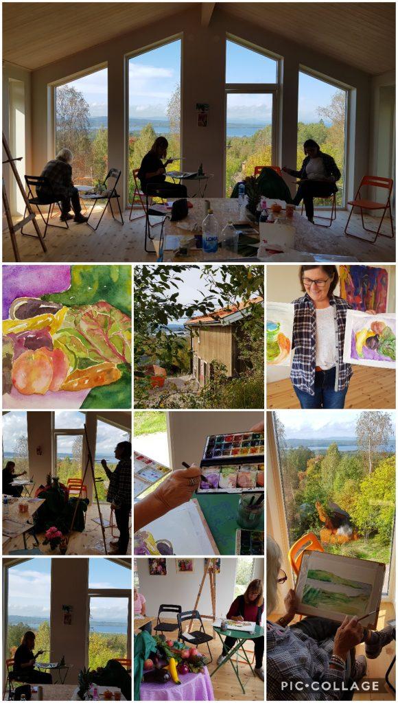 Kollage - bilder från en målerikurs i Annika Berglöfs ateljé i Plintsberg