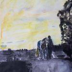 Häst och ryttere i solnedgång