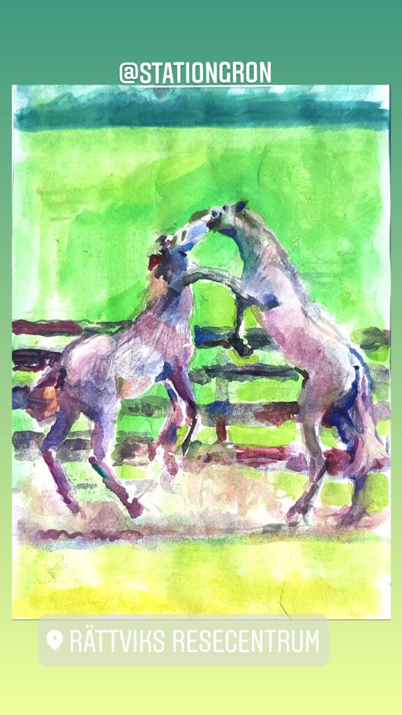 Two playing horses