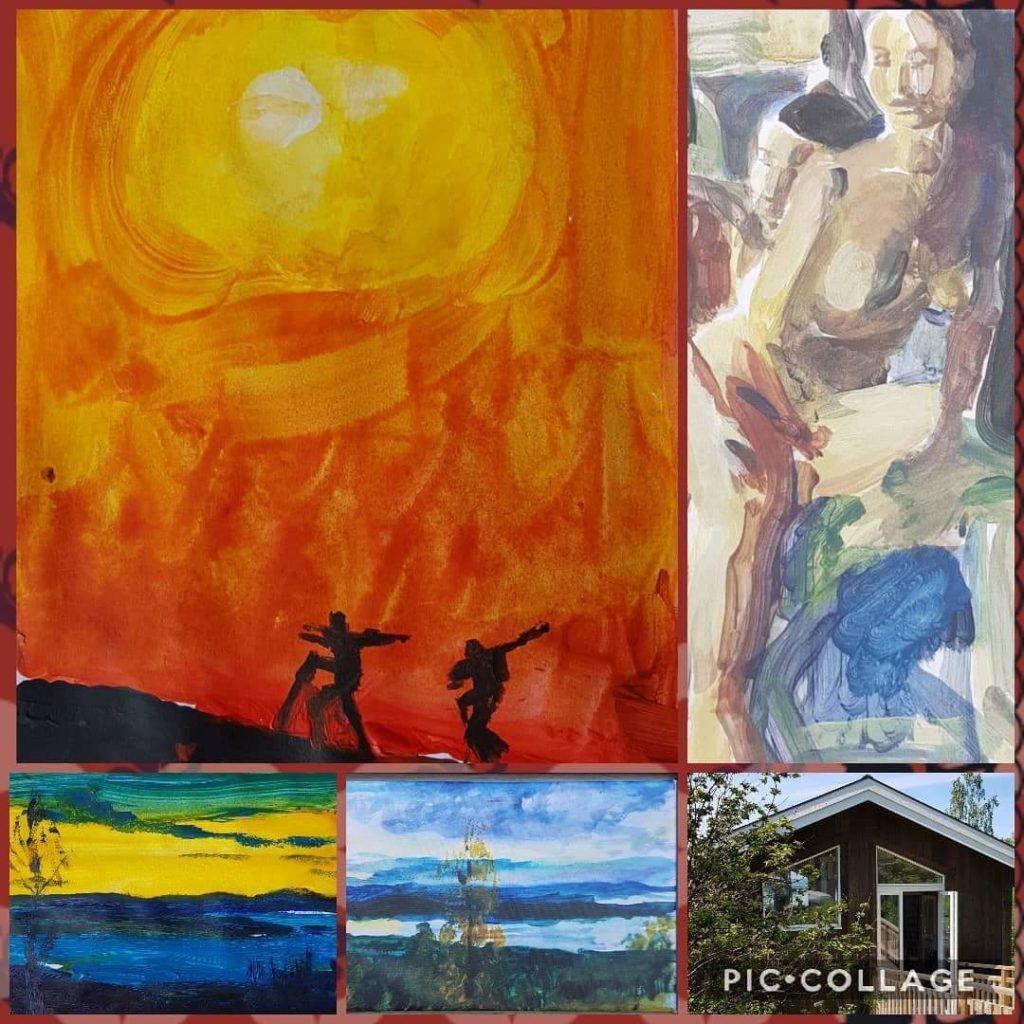 Bildkollage av de konstverk som finns med av Annika Berglöf på Konst runt Siljan 2020 i Rättviks konsthall