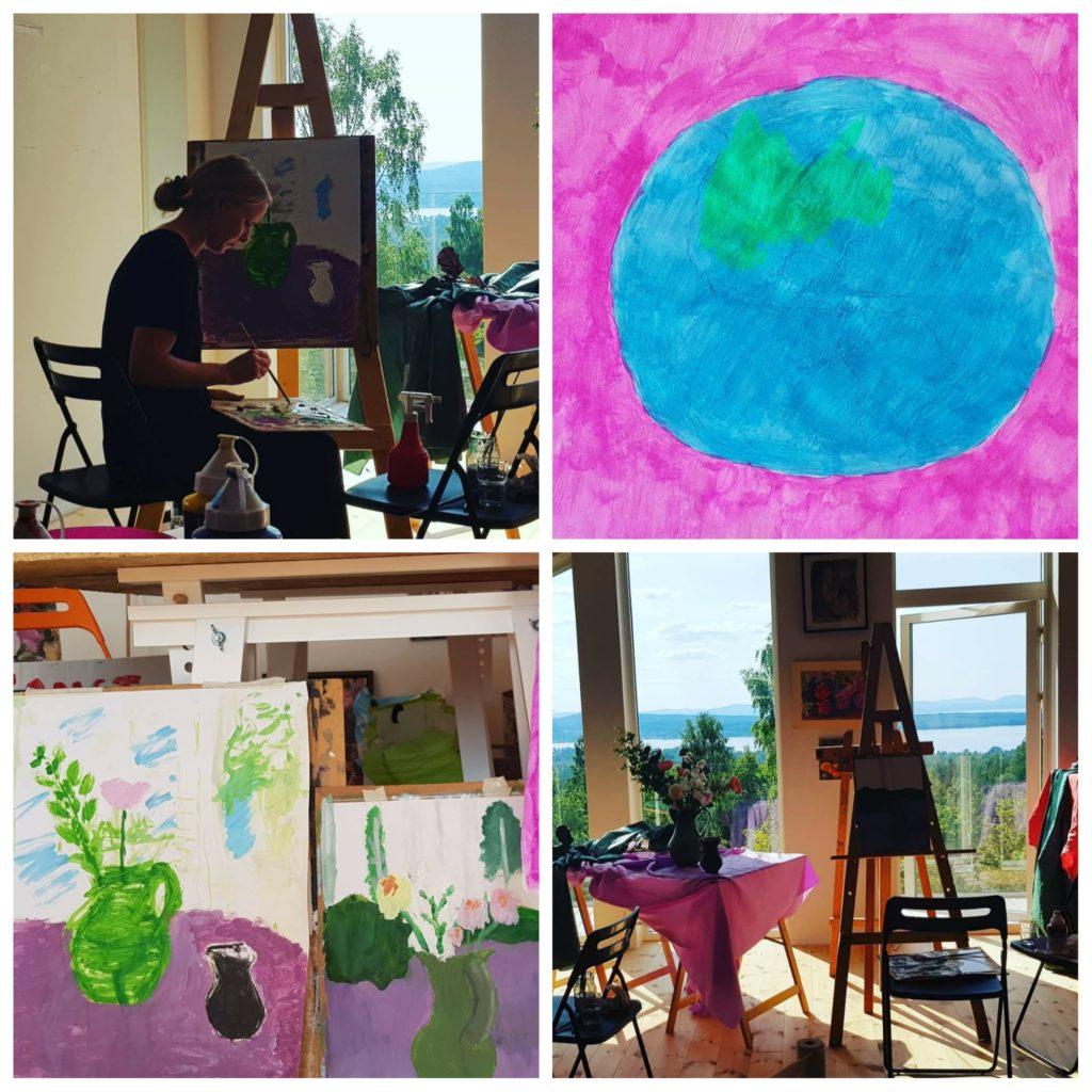 Kollage av bilder från en konstkurs i Annika Berglöfs ateljé med utsikt över Siljan