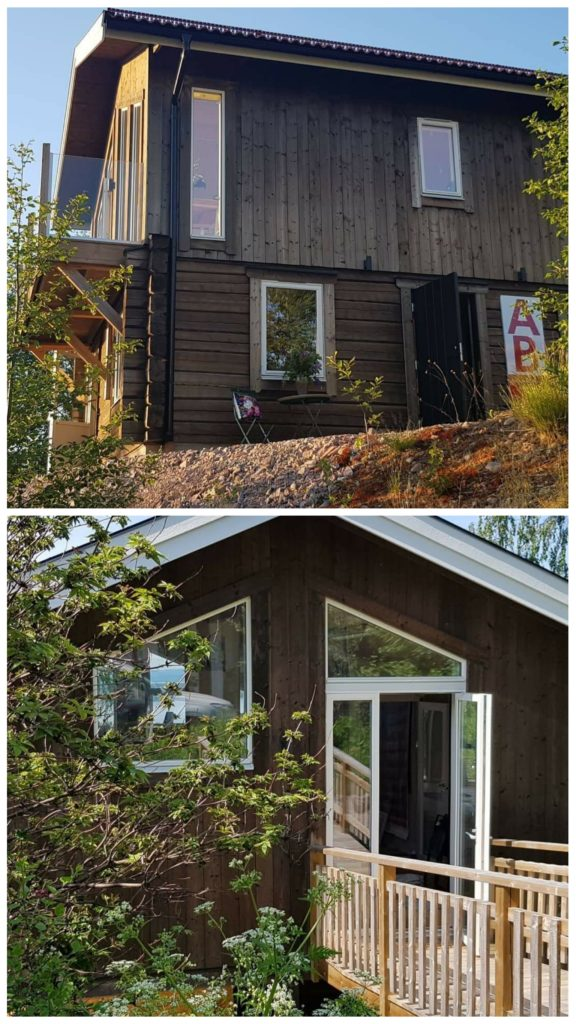 Annika Berglöfs ateljé i Tällberg med utsikt över Siljan. Övre bilden: Ingång till boendet på nedre plan, nedre bilden visar på ingång till ateljén.